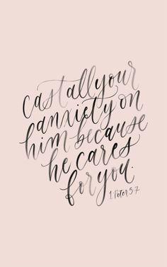 1 Peter 5:7, calligraphy quote, handlettering bible verse