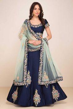 Bollywood Style -Designer Navy Blue Tafeta Silk Lehenga Choli - ZC7010