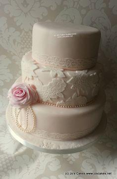 Three tier lace wedding cake - by JosCakesHD4 @ CakesDecor.com - cake decorating website