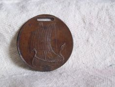 Antique bronze watch fob Viking ship Sons of Norway by LostTreeMan