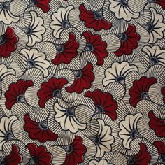 African Print Fabric Red and Cream flowers African by Urbanstax, £10.00