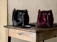 The Chloé Fall 2015 accessories collection – Gala small bucket bag in long haircalf pony-like & smooth calfskin, Gala small bucket bag in long haircalf pony-like & smooth calfskin