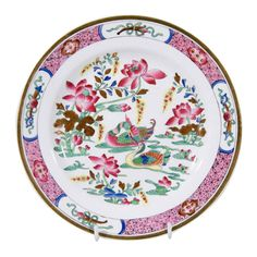 "Dessert Service in the Spode ""Pink Ducks"" Pattern  A dozen dessert dishes 8.4"" diameter, price: $3250. A sauce tureen cover and Stand (see images 3, 5, 6, 8) price: $530. Two pairs of oval shaped serving dishes 10.5' X 7.25"" (see image 7), price: $800 per each pair. A pair of rectangular fruit trays 11"" x 7.25""(see image 8), price: $1100 for the pair. 