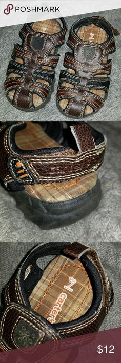 EUC Carter's sandals Brown with white and orange stitching and one black strap. Velcro strap on the back for easy on & off. Worn once or twice (my son never has liked sandals). Carter's Shoes Sandals & Flip Flops