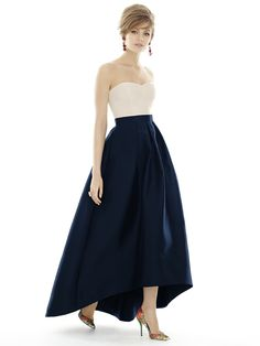 "I like how the bodice can be a different color, like if the other girls had all navy, but MOH gets something a little different :)   (also the high front can show off cute shoes and is more ""summer formal"")  Alfred Sung Style D699 http://www.dessy.com/dresses/bridesmaid/d699/"