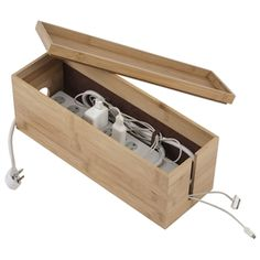 Bamboo Cord Cubby - Hides all of the ugly electrical cords in a sleek bamboo box. Love it! theshelvingstore.com