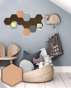 Set of 3 Cork hexagonal tiles for walldecor / natural cork /