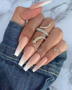 White Tip Acrylic Nails, Bling Acrylic Nails, Acrylic Nails Coffin Short, Cute Acrylic Nail Designs, Square Acrylic Nails, White Nails, White Tip Nail Designs, White Coffin Nails, Pastel Nails