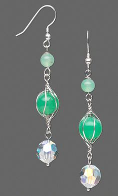 Earrings with Chrysoprase Gemstone Beads, Swarovski Crystal Beads and Wirework