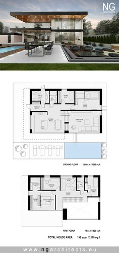 modern house plan Villa F designed by NG architects www.ngarchitects.eu Villa Plan, Modern House Floor Plans, Contemporary House Plans, Unique House Plans, Modern Architecture House, Architecture Plan, Small Villa, Modern Villa Design, Casas Containers