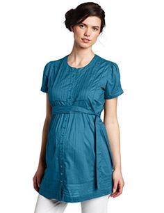 fd1c1c0819831 Ripe Maternity Pintucked Short Sleeve Overshirt, Moonrock, Small at Amazon  Women's Clothing store: