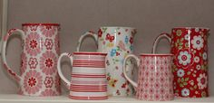 Greengate jugs by Love Taking Photos | Flickr - Photo Sharing! | Kim pale pink, Penny red, Molly white, Denise pale pink, Mimi red