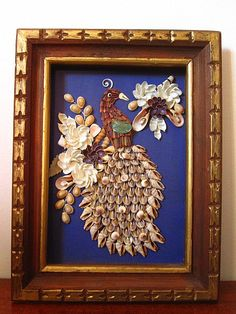 Vintage 60s Peacock Bird Sea Shell Art Shadow Box Sculpture Wall Hanging