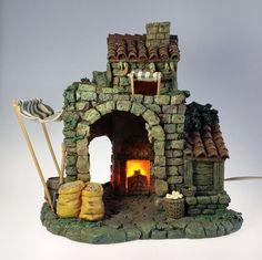 "Fontanini Bakery 5"" Nativity Lighted Building 50150 Depose Italy Roman 1996 #Fontanini"