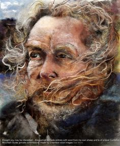 J.Harrison, Wool Images, Figurative art textiles, embroidery portraits