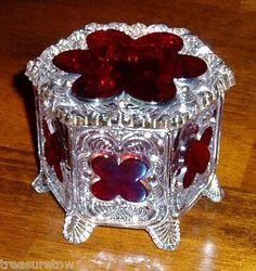 Antique Cut to Clear Ruby Glass Crystal Lidded Trinket Box | eBay