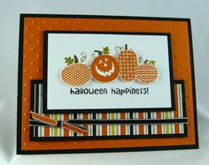 hand crafted Halloween Card ... fancy pumpkins with a smiling jack-o-lantern popped on top ... Stampin' Up!