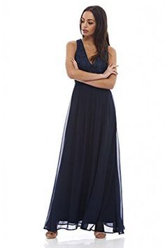 Navy Sleeveless Floral Lace V-Neck Pleated Maxi Dress