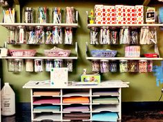 CREATE AN ART AREA  A well-stocked and smartly organized art area for kids stands at the ready for whenever creative inspiration strikes. In this space, each supply has its own place so you don't end up with a junk drawer of broken crayons and dried-out paints.