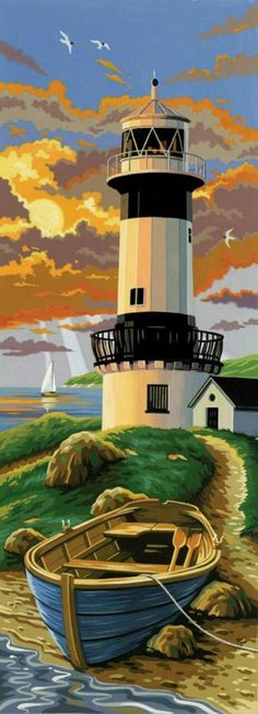 Paint by Number Kits - Paint By Number Kit Tall - Lighthouse. This is so nice for a paint by number kit. Lighthouse Painting, Paint By Number Kits, Paint By Numbers, Beach Art, Painting Inspiration, Scenery, Ocean, Boat, Fine Art