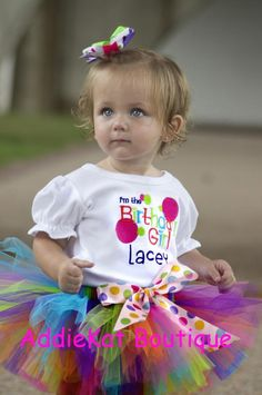 Personalized Birthday Girl Polka Dot Tutu Outfit.