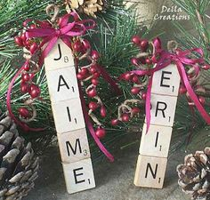Clever idea for ornament to give students-need to look for Scrabble boards at yard sales this summer