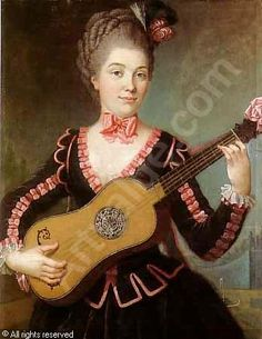 """Portrait of young woman playing guitar,"" 1767 -- by Michel Pierre Hubert Descours (French, 1741–1814)"