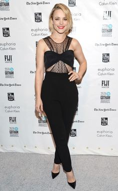 Rachel McAdams goes edgy with her black laced crop top jumpsuit.