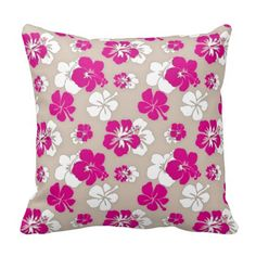 Fuchsia and Sand Hibiscus Throw Pillow - cute and tropical  #pillow #hibiscus