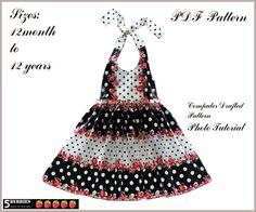 NEW Madison Halter Dress Pattern 12m12y Girls Dress by 5Berries, $6.90