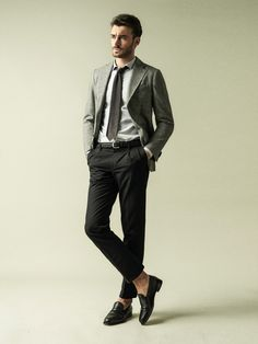 Classic casual Inspiration - grey sportcoat, black smart trousers and penny loafers
