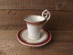"""Antique Demitasse Cup and Saucer (Could be Chocolate Cup)  measures 4"""" across and the cup stands 2 1/2"""" tall.  $38.00   by purplepansyvintage"""