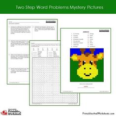 Grade 2 Two Step Word Problems Coloring Worksheets Sample 1 Coloring Pages, Coloring Worksheets, Cell Cycle, 2nd Grade Math Worksheets, Addition And Subtraction, Word Problems, Mystery, Grade 2, Lettering