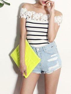 White Lace Panel Stripe Off Shoulder T-shirt | Choies