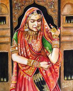 25 Ideas For Watercolor Art Paintings Portraits Beautiful Watercolor Art Paintings, Indian Art Paintings, Indian Women Painting, Mural Painting, Oil Paintings, Rajasthani Painting, Rajasthani Art, Indian Folk Art, Indian Artist