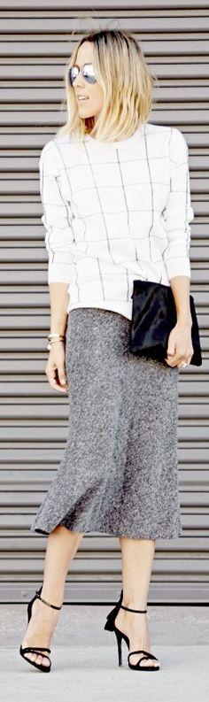 White And Black Windowpane Long Sleeve Tshirt by Damsel In Dior