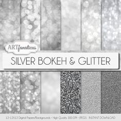 Silver bokeh paper SILVER BOKEH & GLITTER bokeh by Artfanaticus  My backgrounds, textures, digital paper and clip art can be used for just about any project. Add some additional artistic style to your photo albums, photography projects, photographs, scrapbooking, weddings, invitations, greeting cards, gift wrap, labels, stickers, tags, signs, business cards, websites, blogs, party decor, jewelry & more.  For more digital papers, please visit Artfanaticus at:  http://artfanaticus.etsy.com