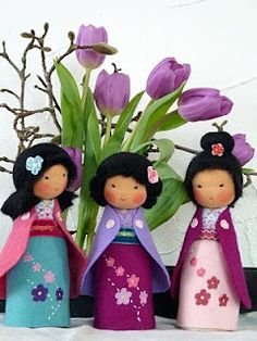 peg dolls with fabric as well. good inspiration
