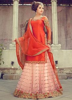 Orange Long Choli Lehenga