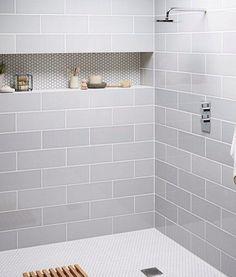 Attlingham Mist tile with hexagonal recess grey tiles bathroom renovation shower
