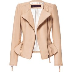 Zara Leather Jacket With Ruffle Detail (€180) ❤ liked on Polyvore featuring outerwear, jackets, coats, casacos, tops, light camel, camel leather jacket, zara jacket, red ruffle jacket and real leather jacket