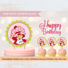 Vintage 80s STRAWBERRY SHORTCAKE,old version cartoon Png,Frames Clipart for Birthday,First Year,Baptism,Collector Stationery paper,Scrapbook
