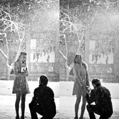 Dear future fiancé. Please propose just like this. At night when the snow is falling in the middle of December.
