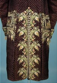 """""""habit a la francaise"""": french frock coat of dark taupe cut velvet with magnificent polychrome floral silk embroidery along with ivory silk embroidered waistcoat. late 18th Century :: antique & vintage dress gallery"""