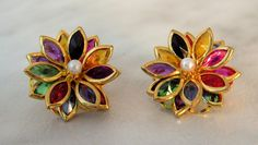Vintage Unfoiled Multi Bright Navette Flower Earrings  With Pearl Center  post earrings by GemstoneCowboy on Etsy