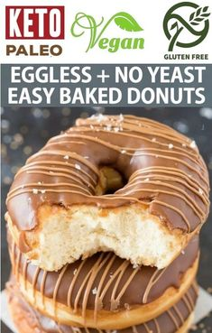 Description: These vegan and gluten free baked donut recipe is quick, easy and made without yeast and without baking powder! Using just 4 ingredients, these healthy baked donuts come with a tested keto and paleo option! Donuts Vegan, Vegan Donut Recipe, Easy Donut Recipe, Baked Donut Recipes, Healthy Donuts, Gluten Free Donuts, Baked Donuts, Yeast Free Doughnut Recipe, Donut Recipe Without Eggs