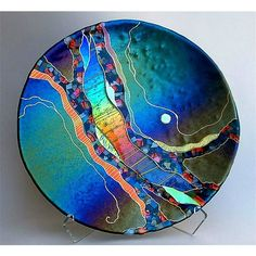 Large Round Abstract Platter in Dark Teal - artist Karen Ehart