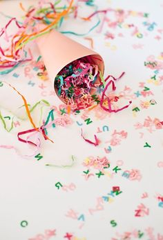Typography confetti done with alphabet punch. Can also use silhouette cameo or cricut to cut out alphabets. Great for any kind of parties, from baby shower to birthday party.