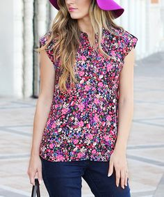 Another great find on #zulily! Black & Pink Every Day Floral Henley #zulilyfinds