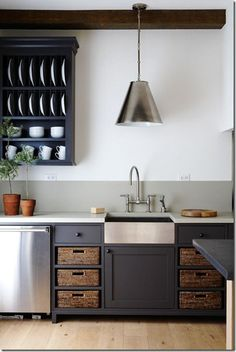 pictures of kitchen shelving with baskets | open shelves with baskets kitchen